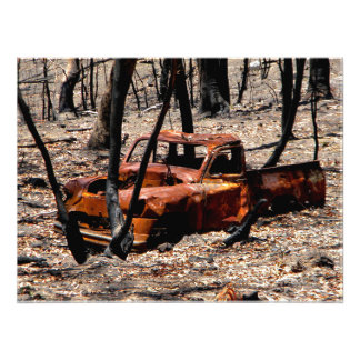 Burnt Out Car Photographic Print