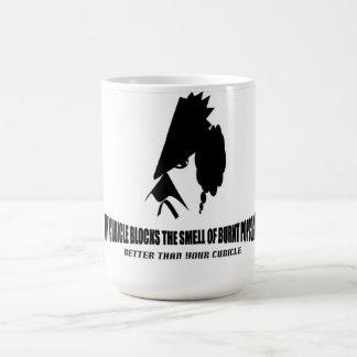 Burnt popcorn smell in cubicle coffee mug