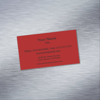 Burnt Red Solid Color Magnetic Business Card