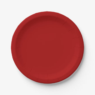 Burnt Red Solid Color Paper Plate