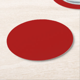 Burnt Red Solid Color Round Paper Coaster