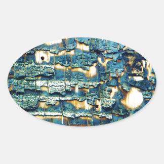 Burnt shingles oval sticker