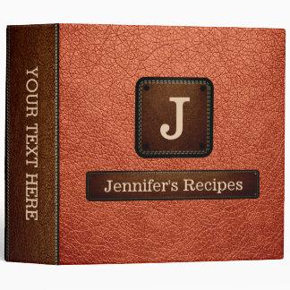 Burnt Sienna Elegant Recipe Leather Look Binder