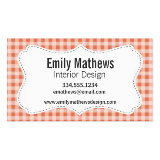 Burnt Sienna Gingham; Checkered Business Card