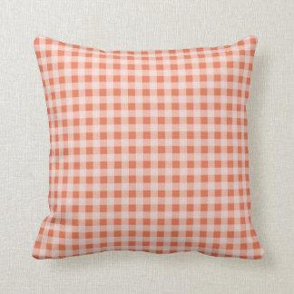 Burnt Sienna Gingham; Checkered Throw Pillow