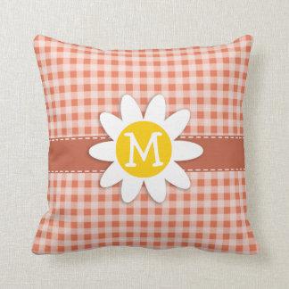 Burnt Sienna Gingham; Daisy Throw Pillow