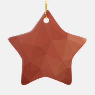 Burnt Sienna Orange Abstract Low Polygon Backgroun Ceramic Ornament