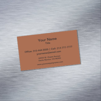 Burnt Sienna Solid Color Magnetic Business Card