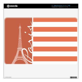 Burnt Sienna Stripes; Paris MacBook Air Decal