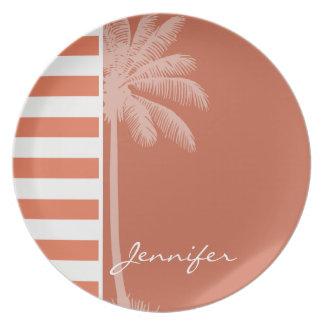 Burnt Sienna Stripes; Summer Palm Plates