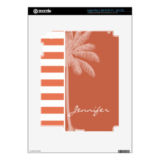 Burnt Sienna Stripes Summer Palm Decals For iPad 3