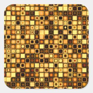 Burnt Terra Cotta Textured Mosaic Tiles Pattern Square Sticker
