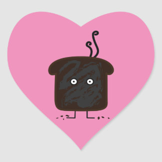 Burnt Toast smoke crumbs ashes bread Heart Sticker