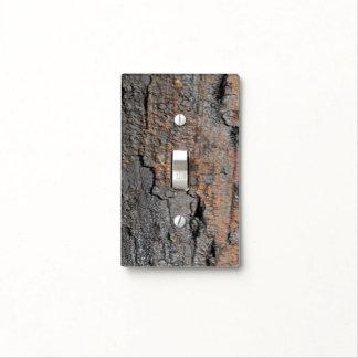 Burnt Tree Bark Light Switch Plate