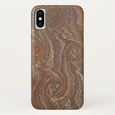 Burnt Umber-and-Blue Marble Pattern Phone Case