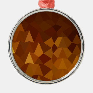 Burnt Umber Brown Abstract Low Polygon Background Metal Ornament