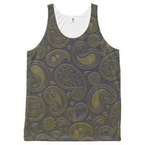 Burnt Umber Yellow Paisley motif All-Over-Print Tank Top