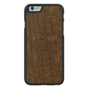 Burnt Umber Yellow Paisley motif Carved Cherry iPhone 6 Case