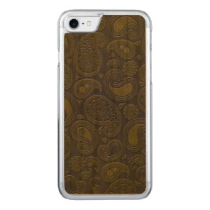 Burnt Umber Yellow Paisley motif Carved iPhone 8/7 Case