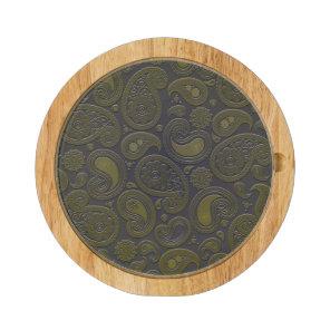 Burnt Umber Yellow Paisley motif Cheese Platter
