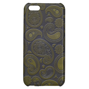 Burnt Umber Yellow Paisley motif Cover For iPhone 5C