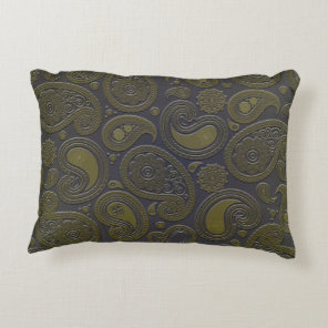 Burnt Umber Yellow Paisley motif Decorative Pillow