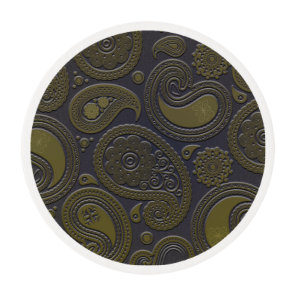 Burnt Umber Yellow Paisley motif Edible Frosting Rounds