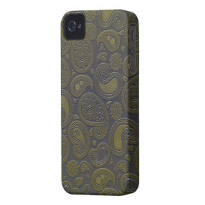 Burnt Umber Yellow Paisley motif iPhone 4 Cover