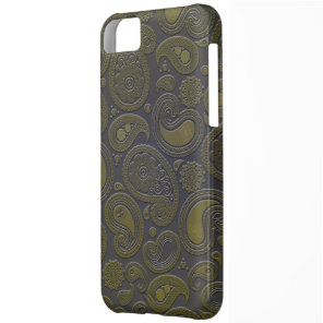 Burnt Umber Yellow Paisley motif iPhone 5C Cover