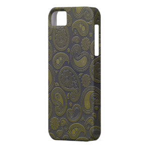 Burnt Umber Yellow Paisley motif iPhone SE/5/5s Case