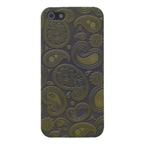 Burnt Umber Yellow Paisley motif iPhone SE/5/5s Cover