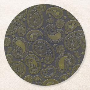Burnt Umber Yellow Paisley motif Round Paper Coaster
