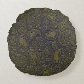 Burnt Umber Yellow Paisley motif Round Pillow