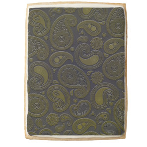 Burnt Umber Yellow Paisley motif Shortbread Cookie