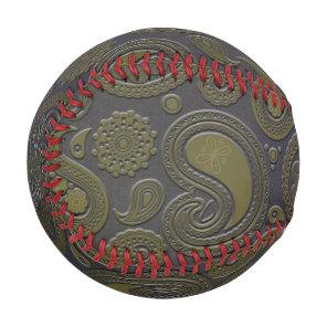 Burnt Umber Yellow Paisley on deep burgandy Baseball