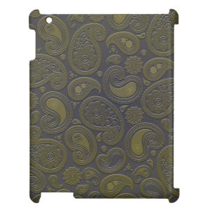 Burnt Umber Yellow Paisley on deep burgandy Case For The iPad 2 3 4