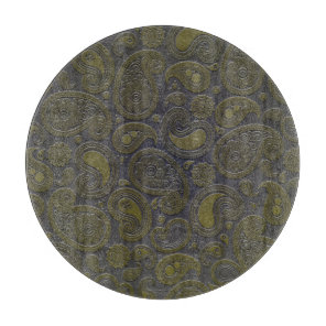 Burnt Umber Yellow Paisley on deep burgandy Cutting Board