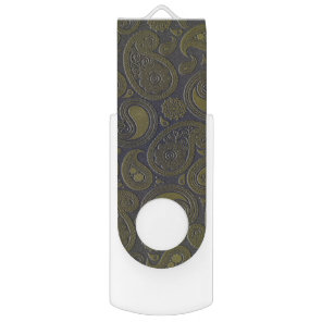 Burnt Umber Yellow Paisley on deep burgandy Flash Drive