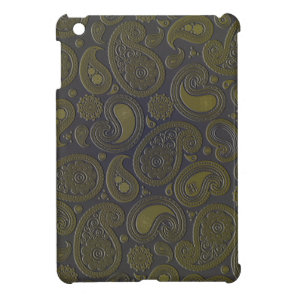 Burnt Umber Yellow Paisley on deep burgandy iPad Mini Cases