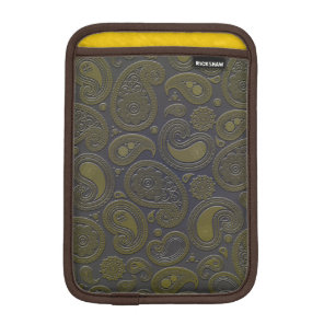 Burnt Umber Yellow Paisley on deep burgandy iPad Mini Sleeve