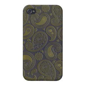 Burnt Umber Yellow Paisley on deep burgandy iPhone 4/4S Case