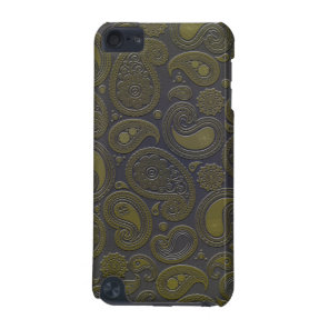 Burnt Umber Yellow Paisley on deep burgandy iPod Touch 5G Cover