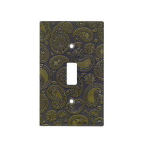 Burnt Umber Yellow Paisley on deep burgandy Light Switch Cover