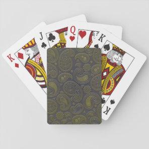 Burnt Umber Yellow Paisley on deep burgandy Playing Cards