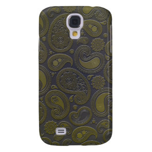 Burnt Umber Yellow Paisley on deep burgandy Samsung Galaxy S4 Cover