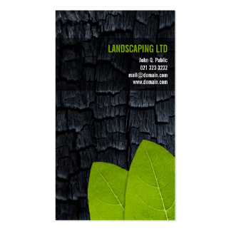 Burnt Wood Green Leaves Landscaper Business Cards
