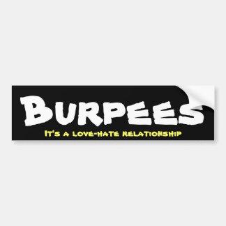 Burpees Love/Hate Relationship Bumper Sticker