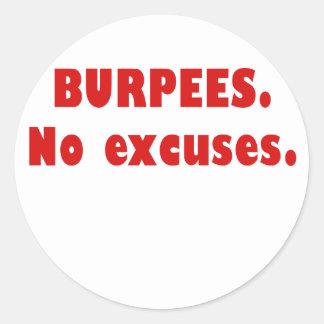 Burpees ningunas excusas etiquetas redondas