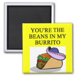 BURRITO and beans lover 2 Inch Square Magnet