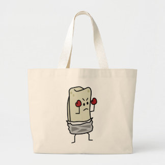 Burrito Boxer Fighter with Red Boxing Gloves Large Tote Bag